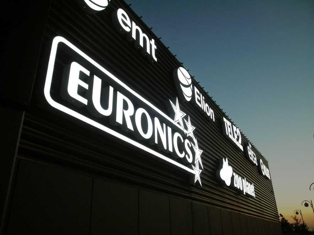 Объемные световые буквы на фасад Euronics
