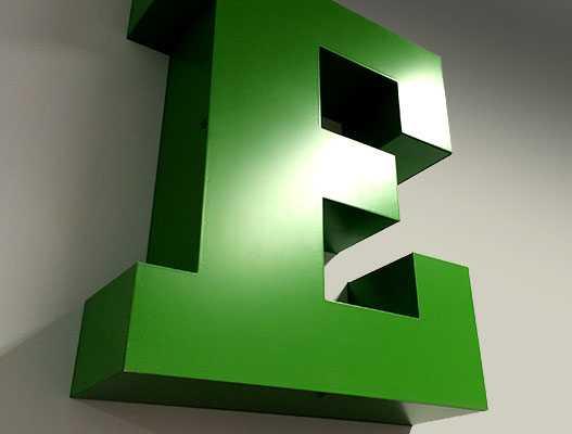 Объемная буква Е