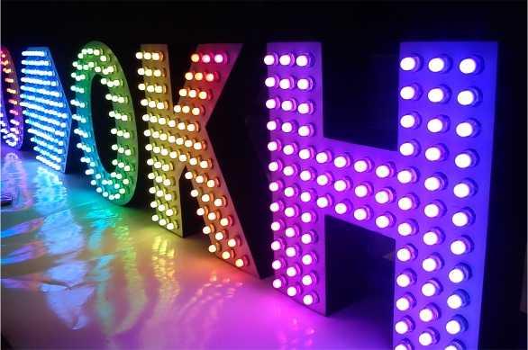 Световые объемные буквы с пиксельными открытыми диодами подсветка пикселями Мега Пиксель заказать спб цена мегаманго